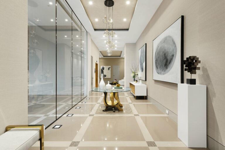 appartamento di lusso: corridoio interno con tavolino